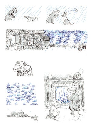 Image of Badger and Vole: Dip pen drawings