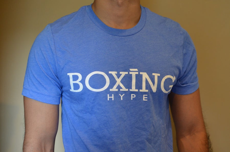 Image of Mens blue BoxingHype logo tees