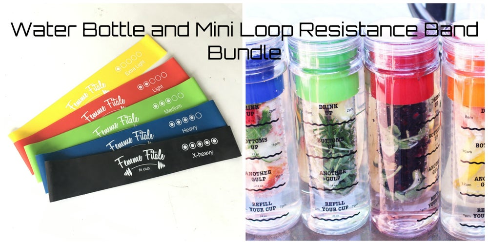 Image of Water Bottle and Mini Loop Resistance Band Bundle