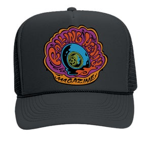 """Image of Rolling Heavy Magazine """"Day Glo Burn Out"""" Logo Mesh Vanner Cap."""