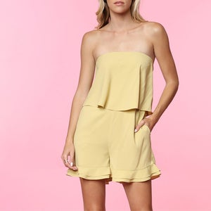 Image of Golden Mist Strapless Romper