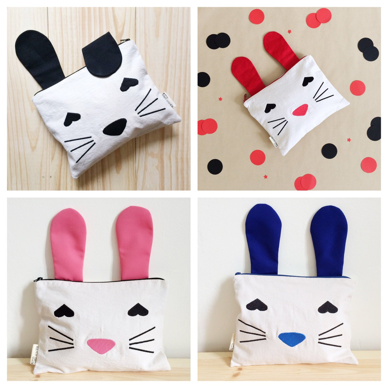 "Image of Pochette brodée  ""Bunny""  (format Ipad) noir, rose, bleu, rouge"