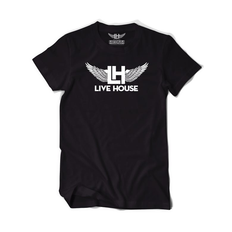 Image of Classic LH Wing Tee (White On Black)