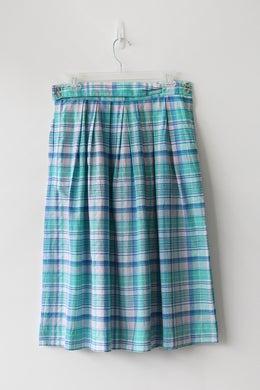 Image of SOLD Madras Cotton Unique Waist Skirt