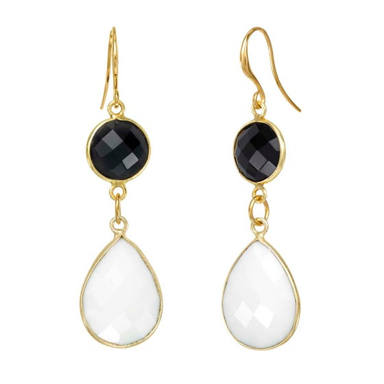 Image of BLACK & WHITE ONYX EARRINGS