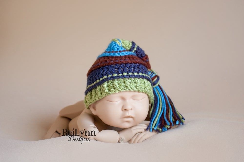 Image of Brown, Navy, Sage, Blue Tassel Hat