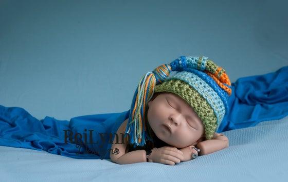 Image of Blue, Aqua, Sage and Orange Tassel Hat