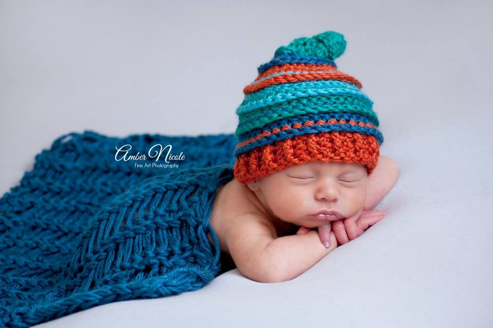 Image of Teal, Ocean, Pumpkin and Turquoise Knotty Beanie