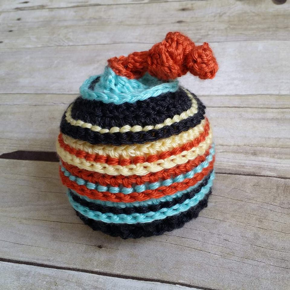 Image of Pumpkin, Aqua, Charcoal and Baby Maize Knotty Beanie