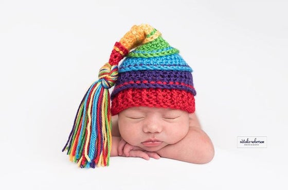 Image of Primary Rainbow Tassel Hat