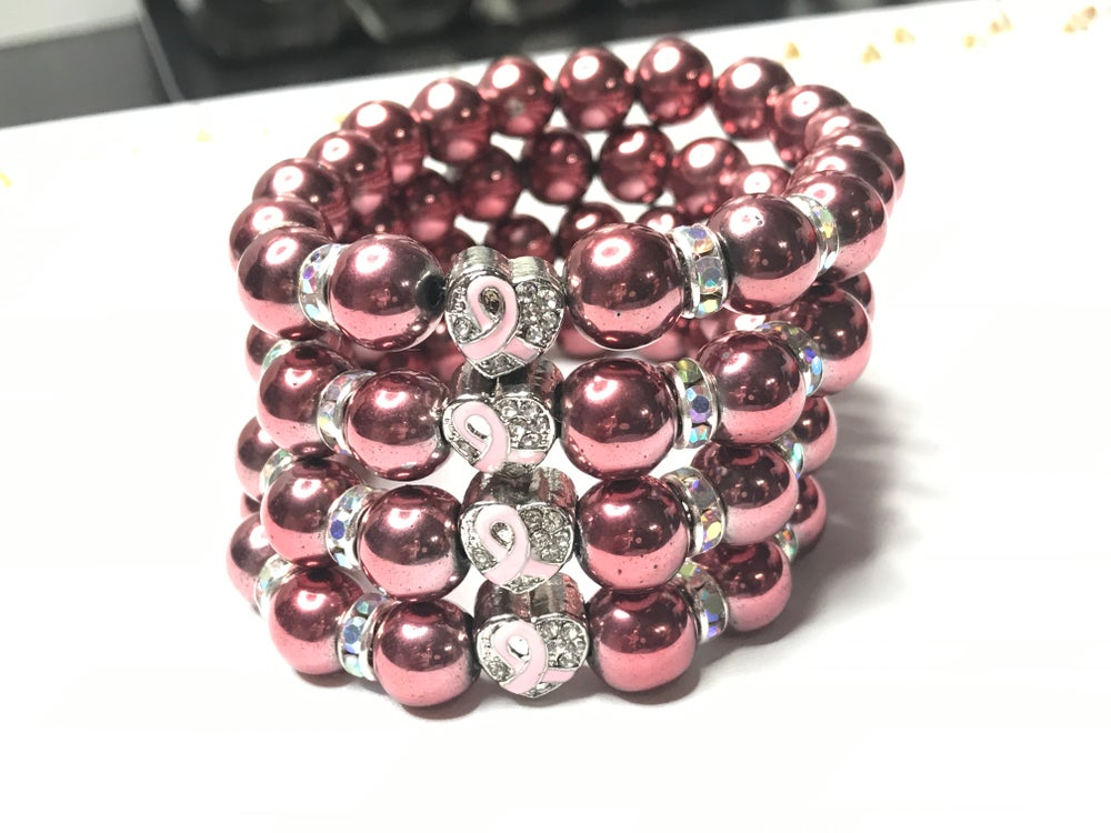 Image of LIMITED EDITION: Pink Hematite Gemstone Breast Cancer Awareness Bracelet