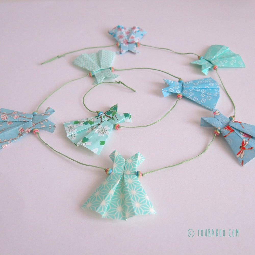 Image of Guirlande origami robes menthe et bleu