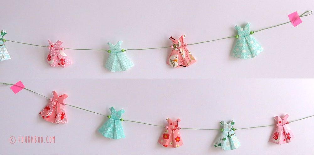 Image of Guirlande origami robes menthe et rose
