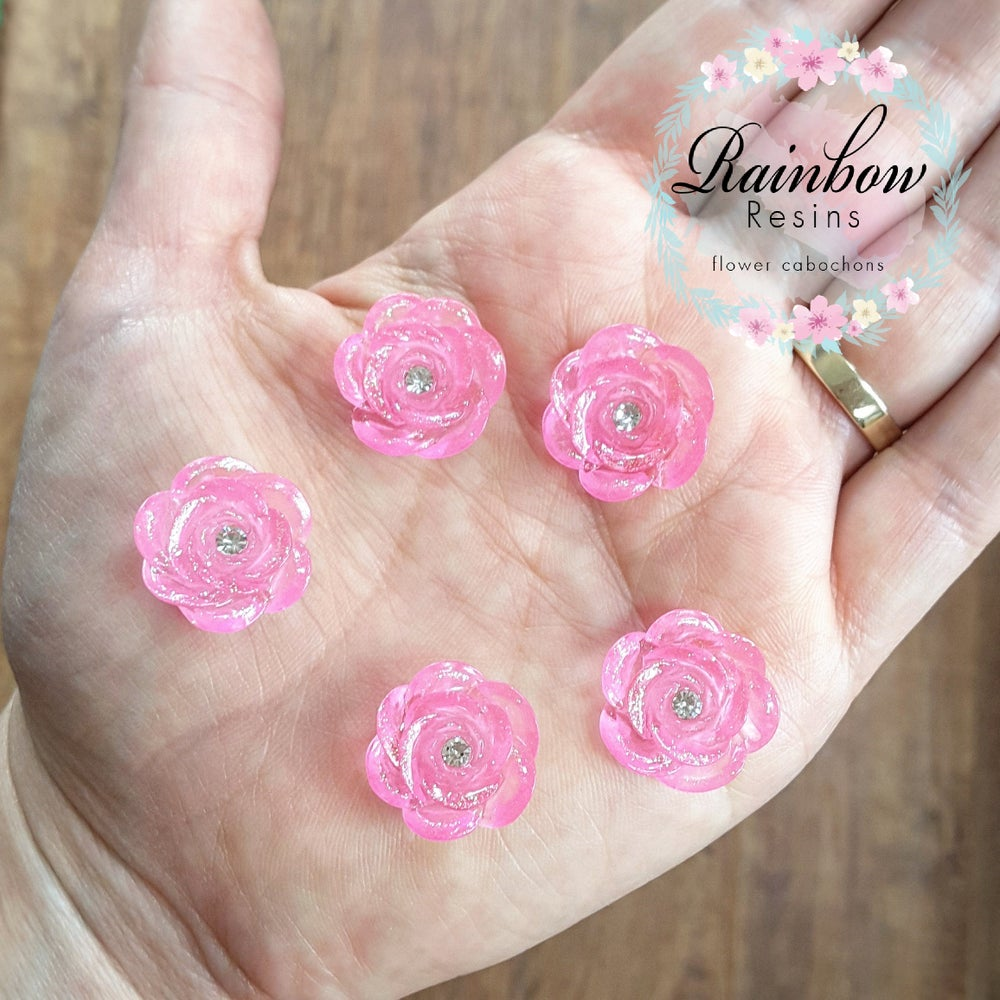 Image of Pink glitter roses with diamantes x 10