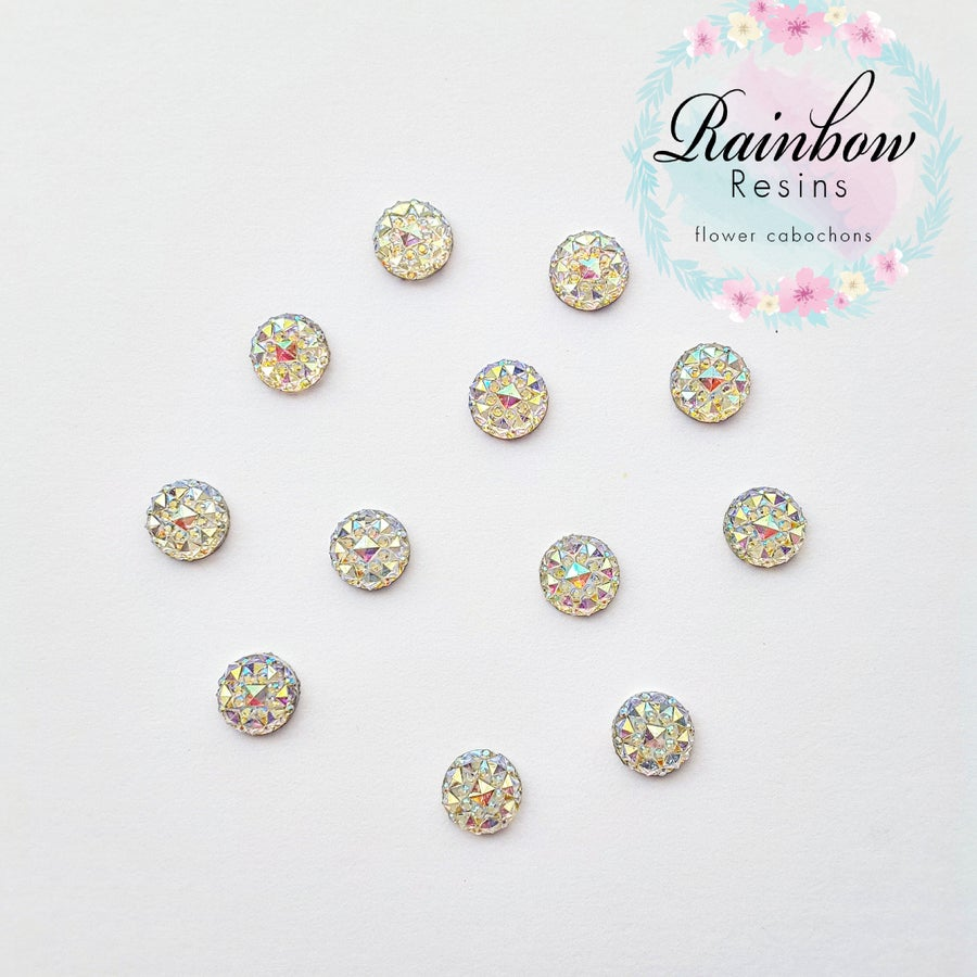 Image of Clear ab 10mm crystal round flatback x 12