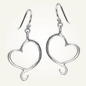 Image of Aphrodite Mini Heart Earrings, Sterling Silver