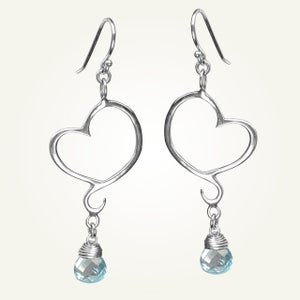 Image of Aphrodite Mini Heart Earrings with Sky Blue Topaz, Sterling Silver