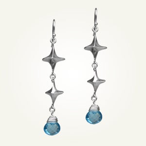 Image of Canis Minor Earrings with Swiss Blue Topaz, Sterling Silver
