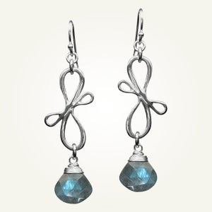 Image of Victorian Ribbon Mini Earrings with Labradorite, Sterling Silver