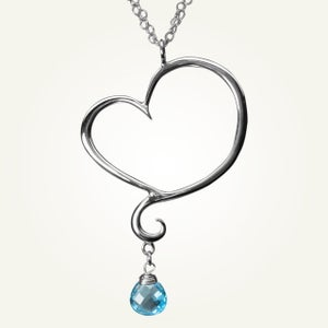 Image of Aphrodite Heart Necklace with Swiss Blue Topaz, Sterling Silver