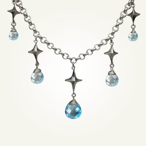 Image of Corona Borealis Necklace with Blue Topaz, Sterling Silver