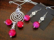 Image of Magenta Spiral Necklace & Earring Set