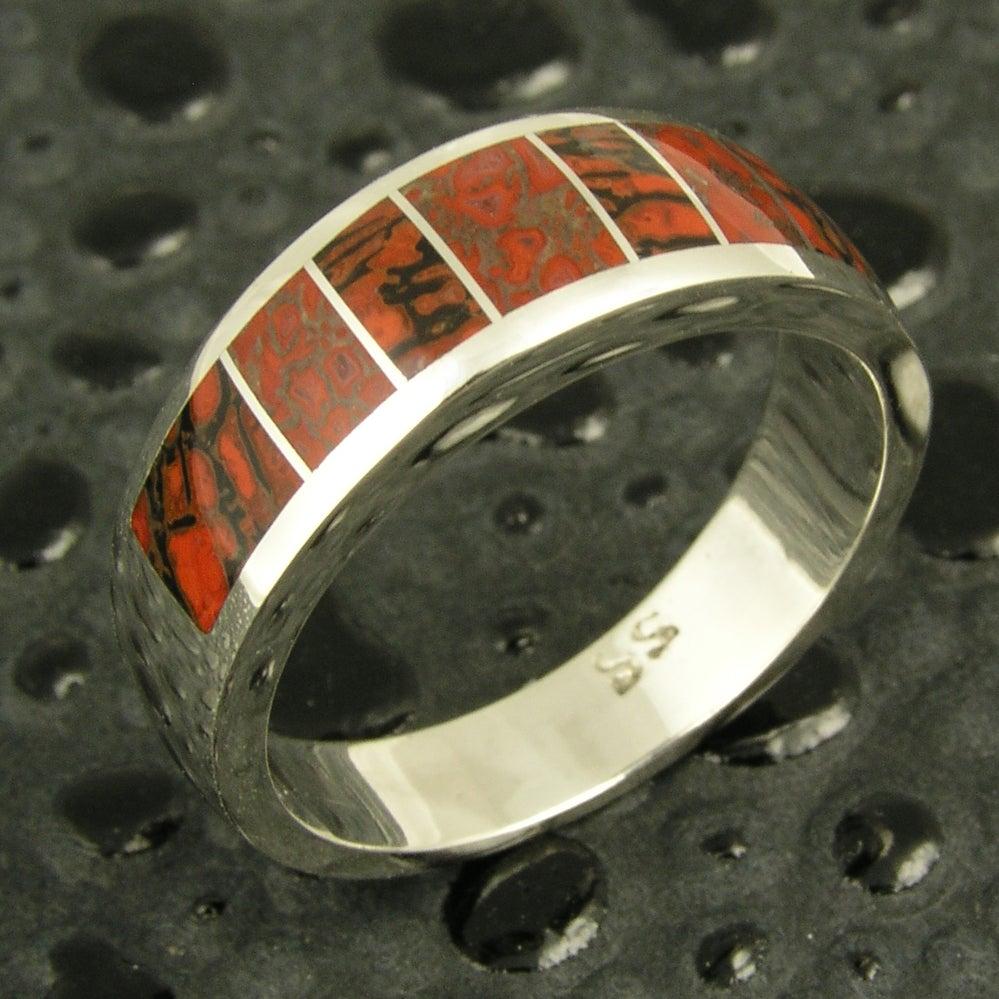 Image of Gem dinosaur bone inlay ring in sterling silver