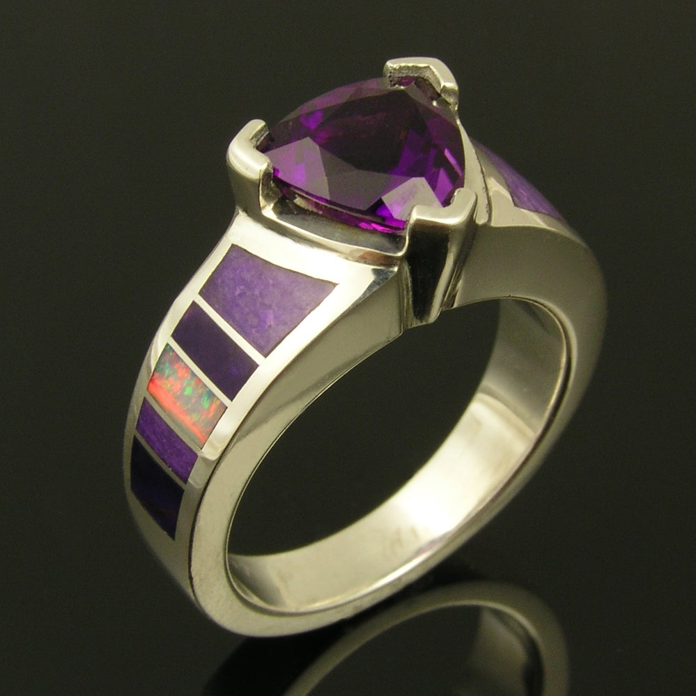 Image of Unique sterling silver Amethyst ring with inlaid Australian opal and sugilite