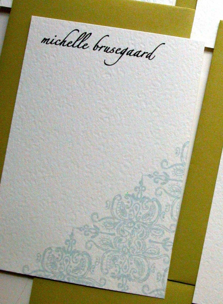 Image of Personalized Notes-Aqua Brocade