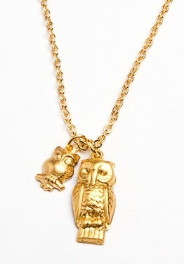 Image of owl and baby owl necklace