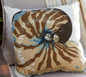 Image of FF Nautilus Shell Outdoor Fabric Pillow Panel  Pottery Barn Fabric S351