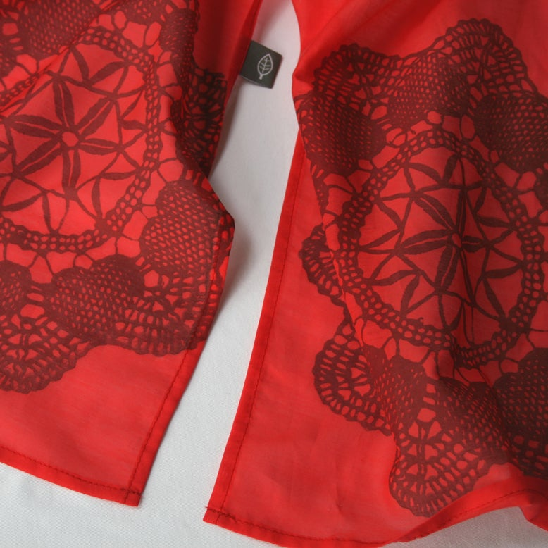 Image of Red Silk/cotton scarf