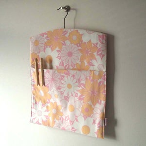 Image of SALE! bubblegum pink vintage fabric clothespin bag