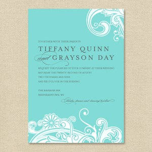Image of {Tiffany} Elegant Swirl Wedding Invitation