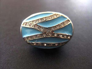 Image of GLAM TURQUOISE SWAROVSKI CRYSTALS COCKTAIL RING