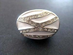 Image of GLAM WHITE SWAROVSKI CRYSTALS COCKTAIL RING