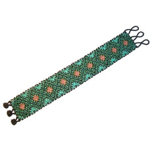 Image of Exquisite Huichol Indian Beaded Emerald Green Bracelet - Medium to Large Size Wrist