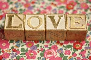 Image of LOVE set of gilded letter blocks