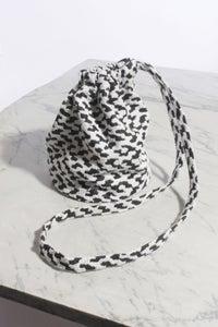 Image of Leopard print vintage cotton drawstring pouch (Long Strap)