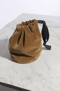Image of Velvet w/ Grosgrain Ribbon drawstring pouch (Short Strap)