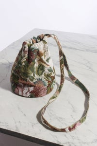 Image of Floral Jacquard Drawstring Pouch (Long Strap)