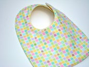 Image of Cutie Pie Squares Side Snap Flannel Bib