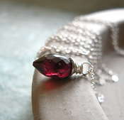 Image of Sterling Silver Garnet Marquise Necklace - Vampire Tear