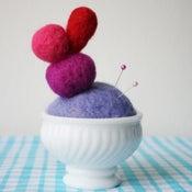 Image of Felt Pincushion Sculpture - violet