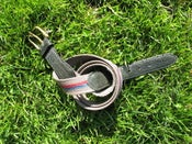 "Image of Cotton & Leather belt - 32"" to 34"" - Green w Blue & Red"