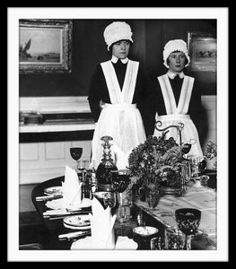 Image of SP31-Parlourmaid and Under Parlourmaid ready to serve dinner, 1939