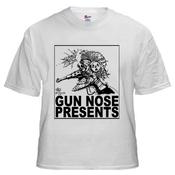 Image of Gun Nose Presents; Black on White Shirt
