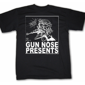 Image of Gun Nose Presents; White on Black Shirt