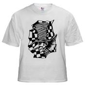Image of Mad Hatter: Black on White Shirt