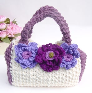 "Image of Hand Crocheted ""Bella Blossom"" Handbag in SUMMER BERRY and LINEN"